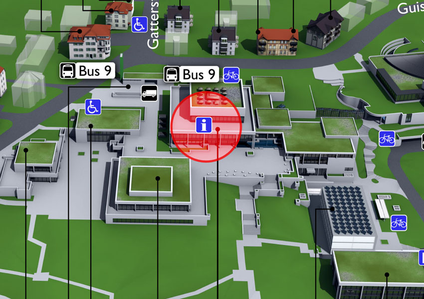 Campusplan-Ausschnitt mit eingezeichnetem Info Desk